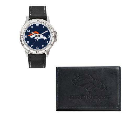 Denver Broncos Watch & Trifold Wallet Gift Set