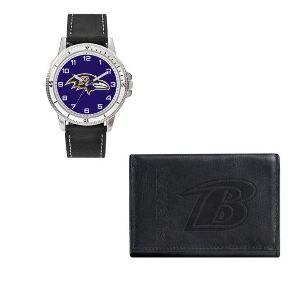 Baltimore Ravens Watch & Trifold Wallet Gift Set