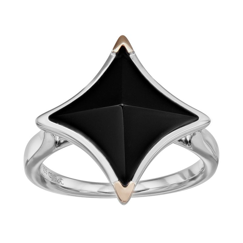 Onyx Sterling Silver Square Ring