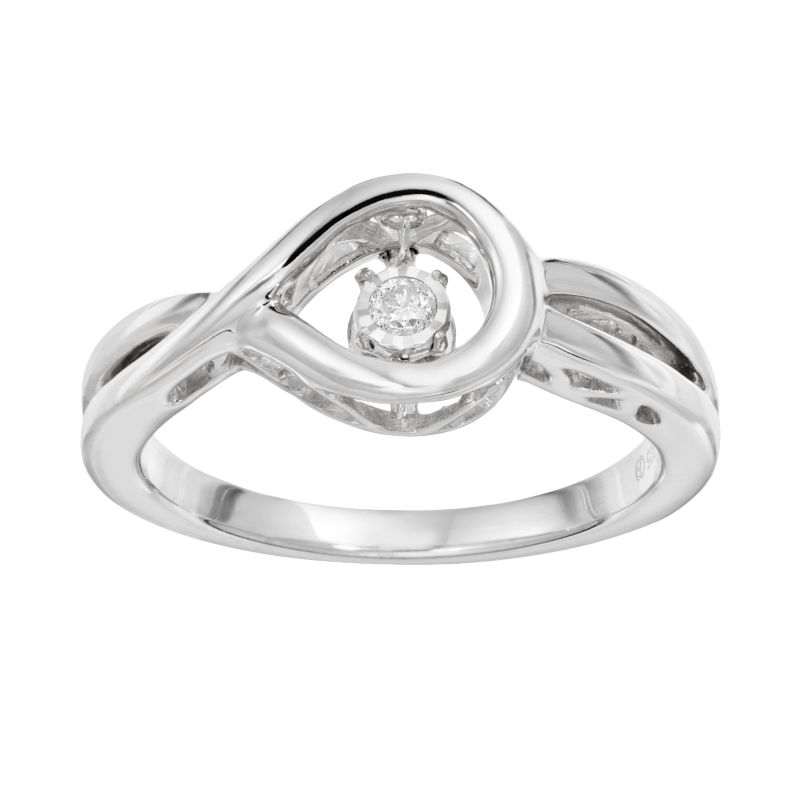 brilliance in motion accent sterling silver loop ring