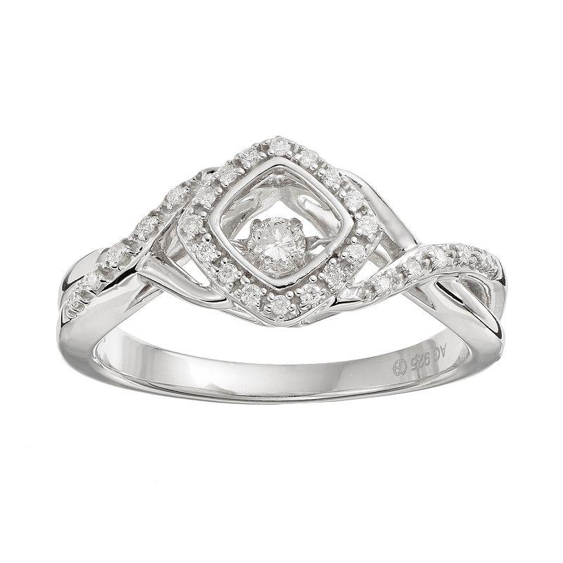 Brilliance in Motion 1/8 Carat T.W. Diamond Sterling Silver Crisscross Square Halo Ring