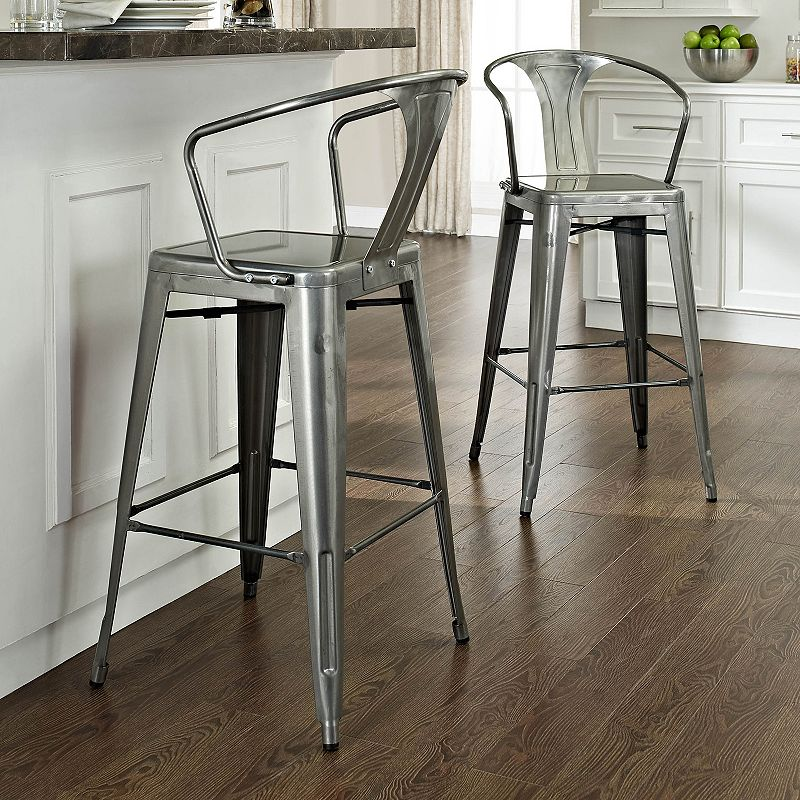 Crosley Furniture 2-piece Amelia Galvanized Bar Chair Set
