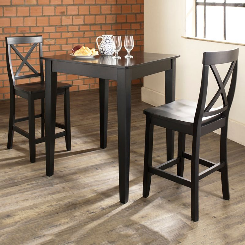 Crosley Furniture 3-piece Tapered Leg Dining Set, Black thumbnail