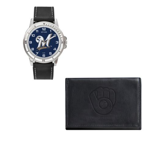 Milwaukee Brewers Watch & Trifold Wallet Gift Set