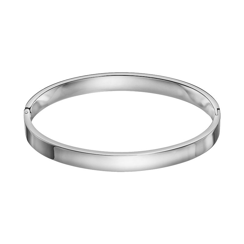 Steel City Stainless Steel Oval Hinged Bangle Bracelet