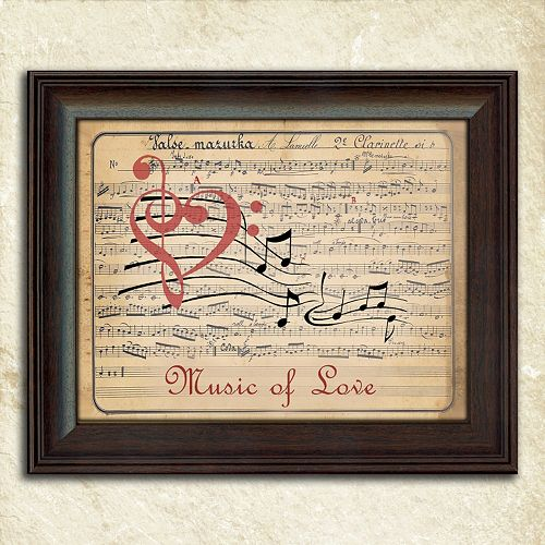 Framed Love Wall Decor : Music of love  framed wall art