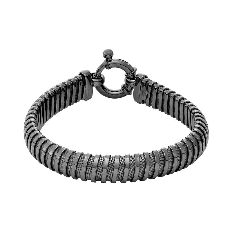 Black Rhodium-Plated Sterling Silver Coil Mesh Bracelet