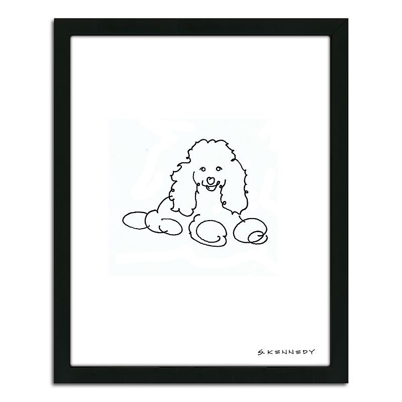 Line Drawing Wall Art : Poodle line drawing quot framed wall art