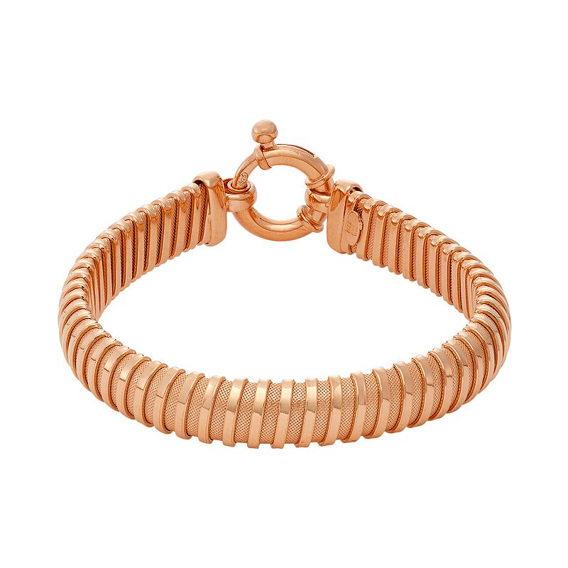 14k Rose Gold Over Silver Coil Mesh Bracelet