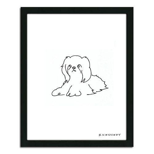 Line Drawing Wall Art : Shih tzu line drawing  framed wall art
