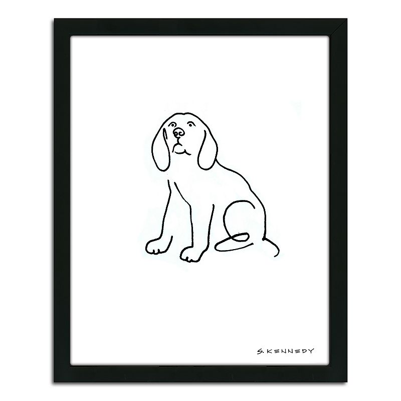 Line Drawing Wall Art : Beagle line drawing quot framed wall art