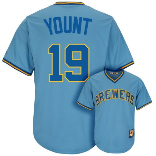 Men's Majestic Milwaukee Brewers Robin Yount Cooperstown Collection Cool Base Replica MLB Jersey