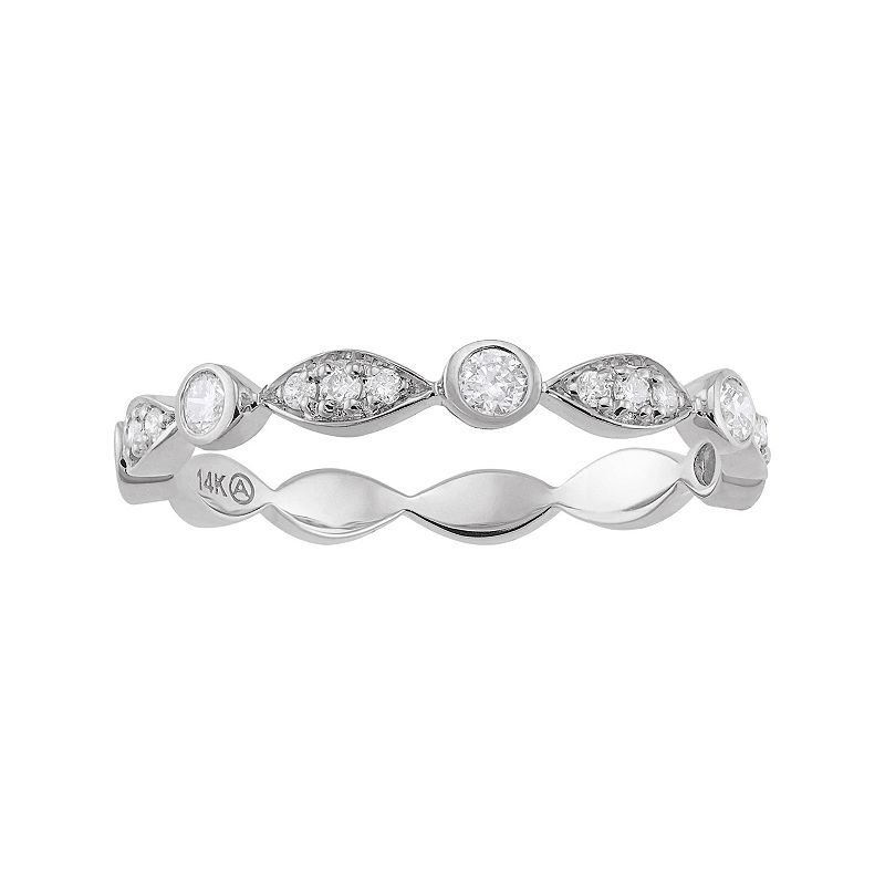 1/4 Carat T.W. Diamond 14k White Gold Scalloped Stack Ring