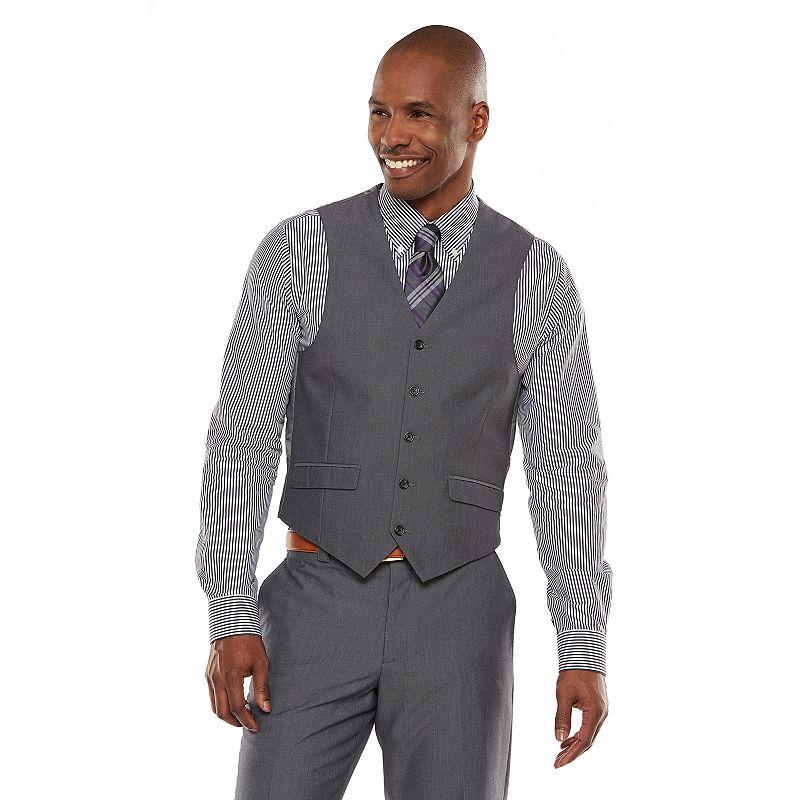 Men's Steve Harvey Modern-Fit Gray Gabardine Vest