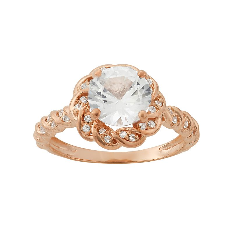 Lab-Created White Sapphire 14k Rose Gold Over Silver Halo Ring