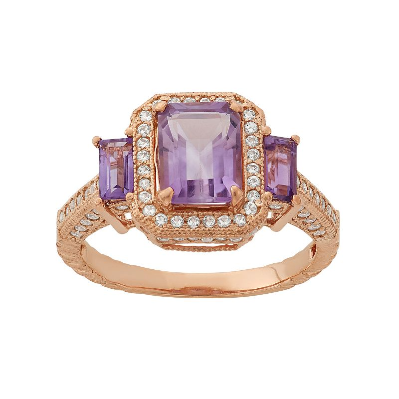 Amethyst and Lab-Created White Sapphire 14k Rose Gold Over Silver 3-Stone Tiered Halo Ring