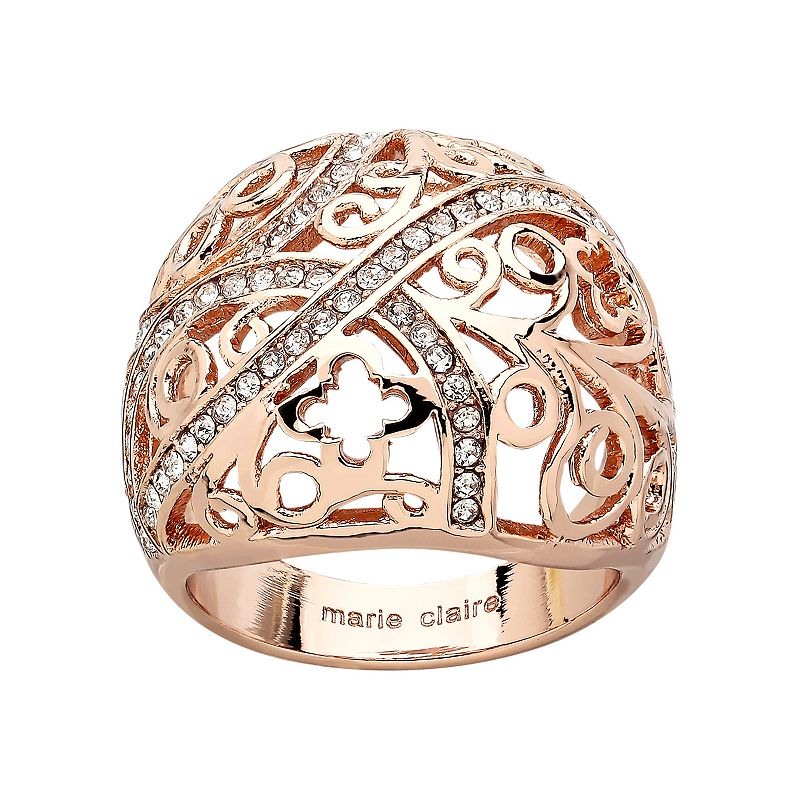 Marie Claire Jewelry Crystal Rose Gold Tone Filigree Clover Dome Ring