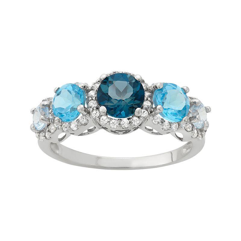 Gemstone Sterling Silver Halo Ring