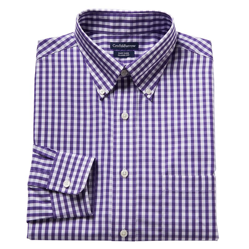 Men 39 s croft barrow classic fit gingham easy care button for Mens gingham dress shirt
