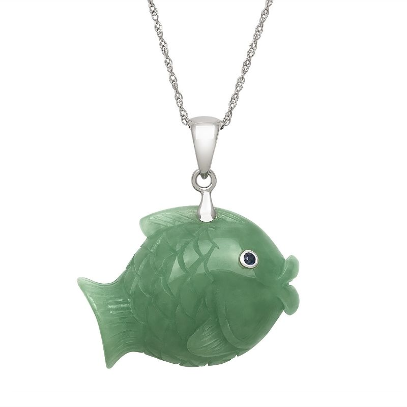 Jade & Sapphire Sterling Silver Fish Pendant Necklace