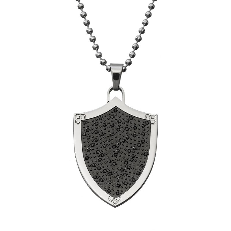 1/2 Carat T.W. Black Diamond Stainless Steel Shield Pendant Necklace - Men
