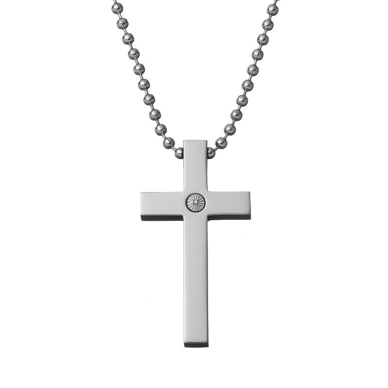 Diamond Accent Titanium Cross Pendant Necklace - Men