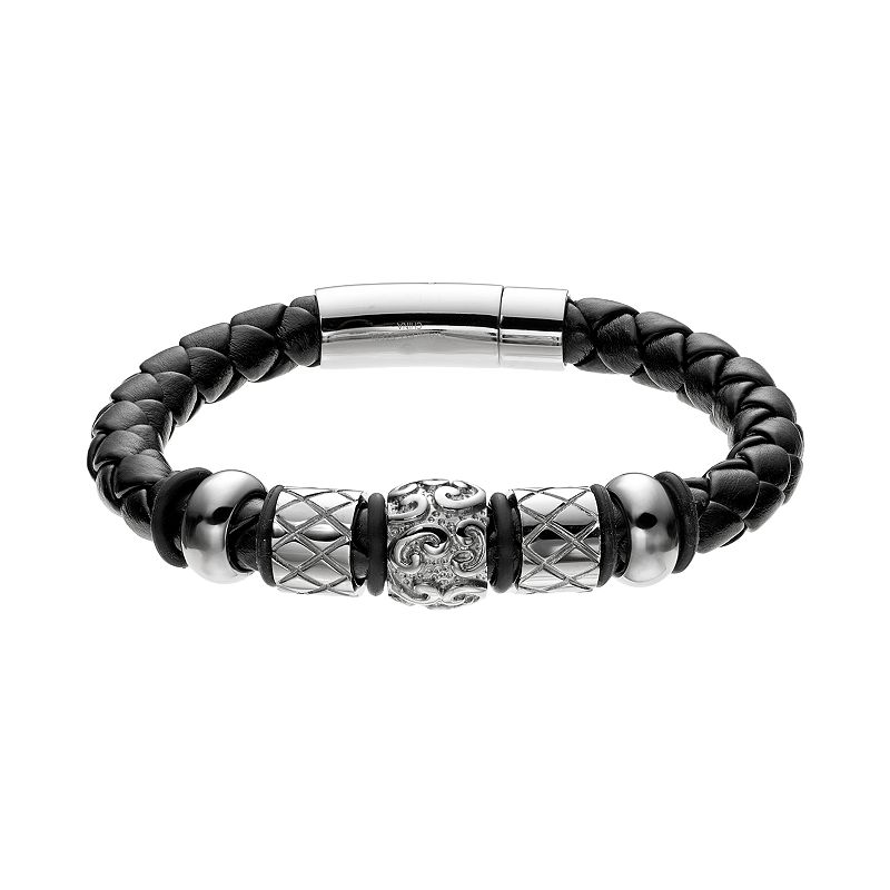 Stainless Steel and Leather Bead Bracelet - Men