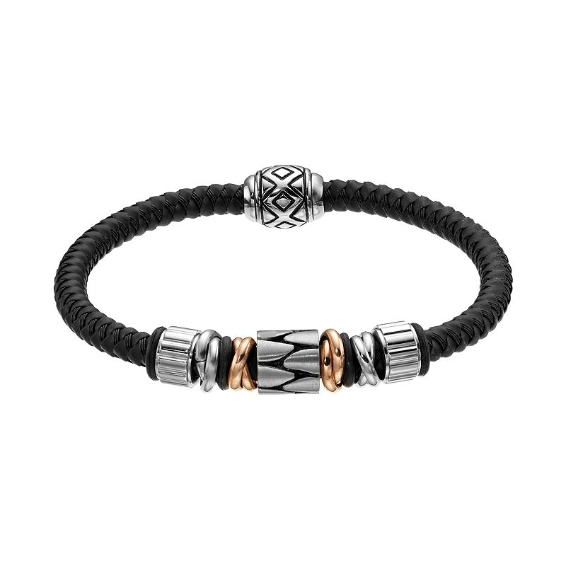 Two Tone Stainless Steel and Leather Bead Bracelet