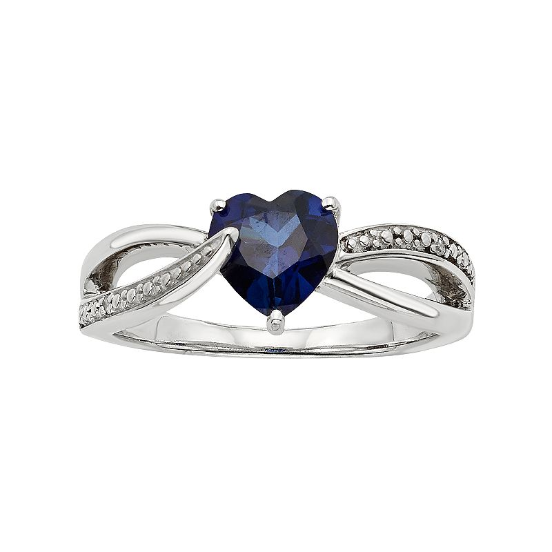 Lab-Created Blue Sapphire and Diamond Accent Sterling Silver Heart Bypass Ring
