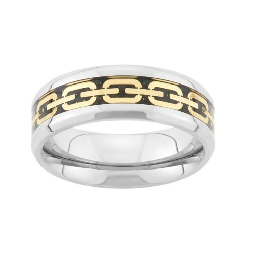 tri tone stainless steel chain link wedding band