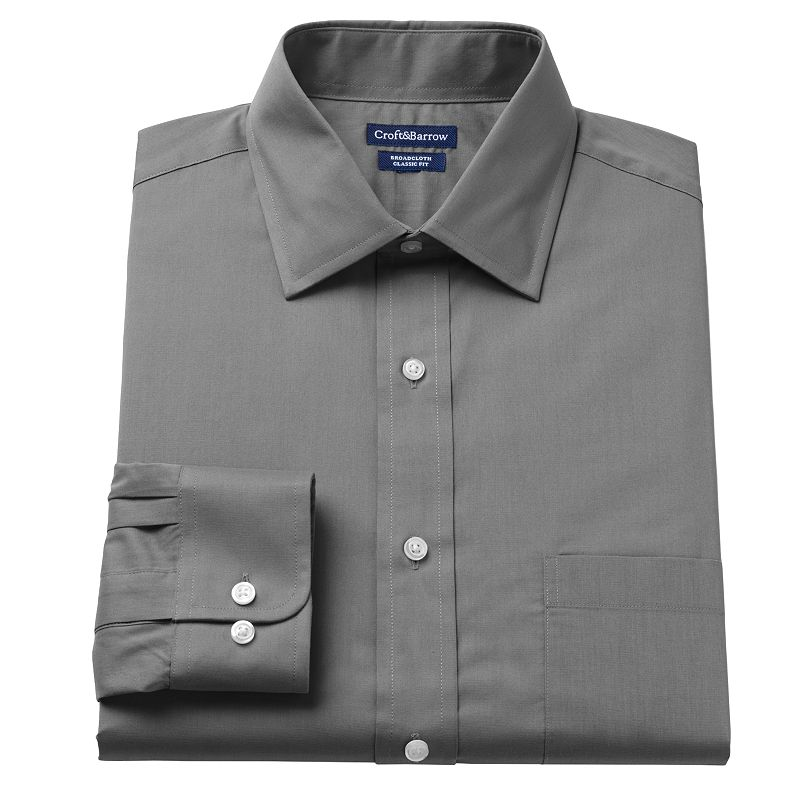 Men's Croft & Barrow® Classic-Fit Solid Spread-Collar Dress Shirt