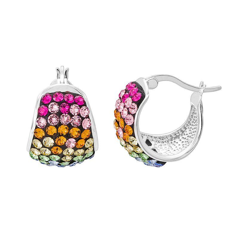 Crystal Sterling Silver Hoop Earrings