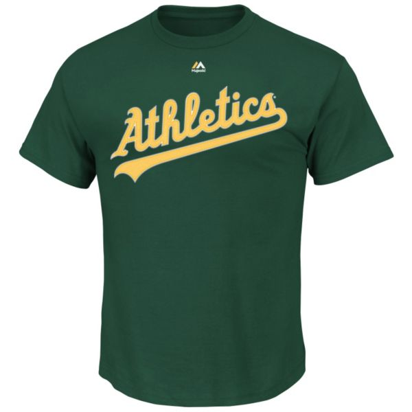 Big & Tall Majestic Oakland Athletics Official Wordmark Synthetic Tee