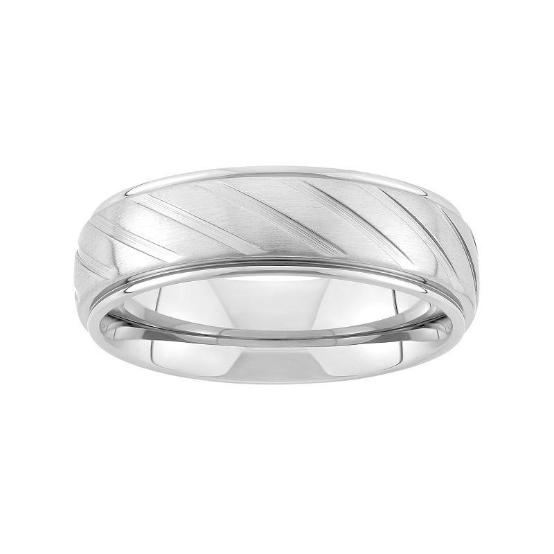 Stainless Steel Diagonal Stripe Wedding Band - Men