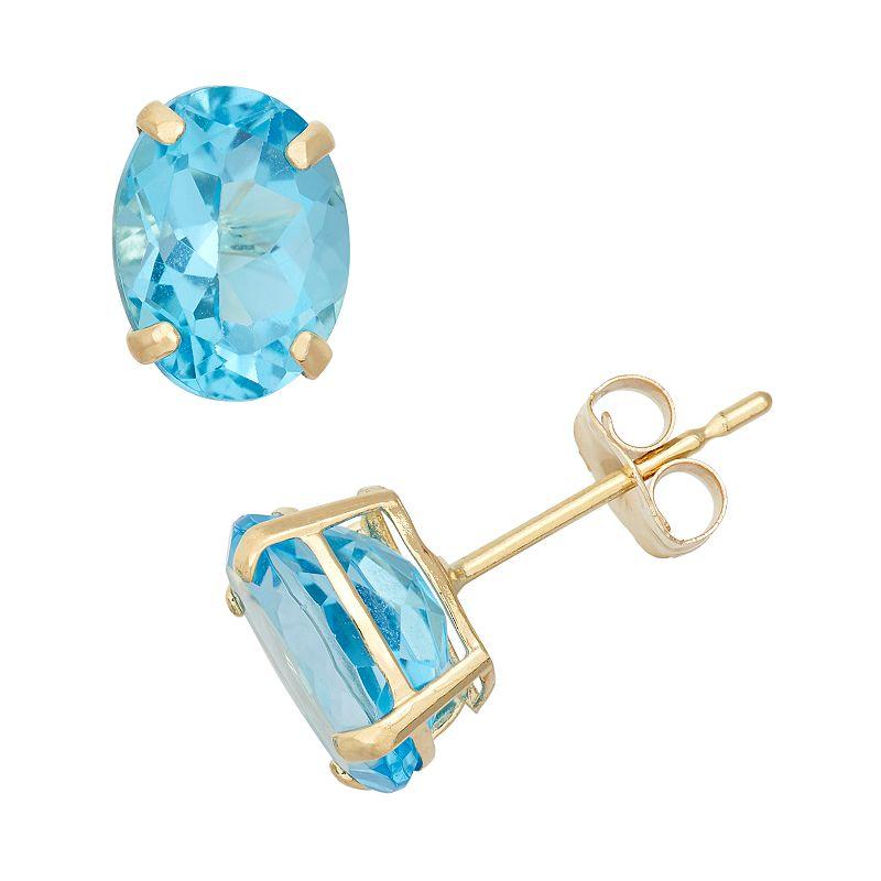 Swiss Blue Topaz 10k Gold Oval Stud Earrings
