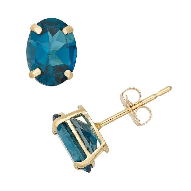 London Blue Topaz 10k Gold Oval Stud Earrings