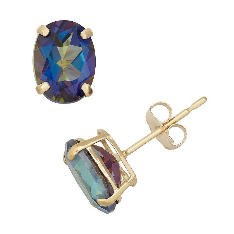 Mystic Topaz 10k Gold Oval Stud Earrings