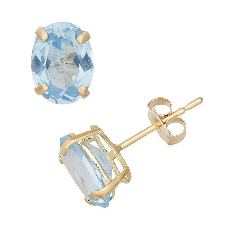 Lab-Created Aquamarine 10k Gold Oval Stud Earrings