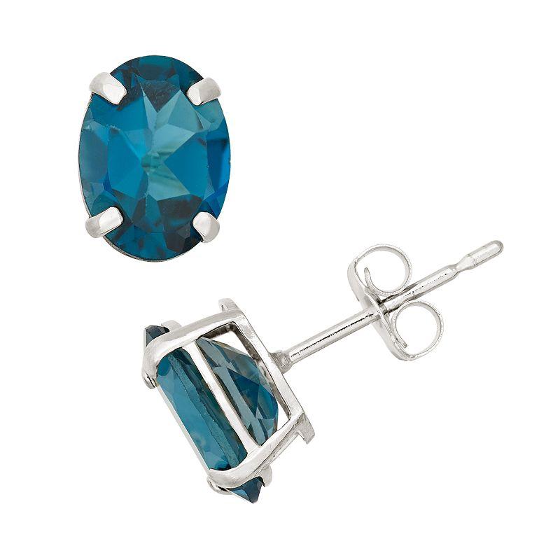 London Blue Topaz 10k White Gold Oval Stud Earrings
