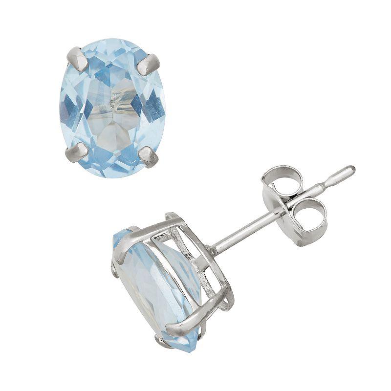 Lab-Created Aquamarine 10k White Gold Oval Stud Earrings