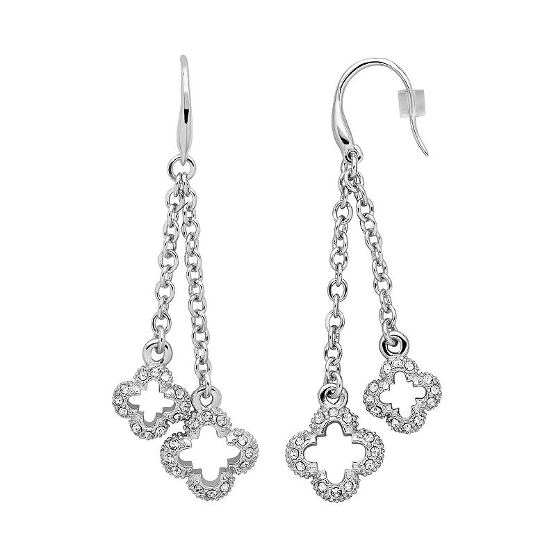 Marie Claire Jewelry Crystal Silver Tone Clover Linear Drop Earrings