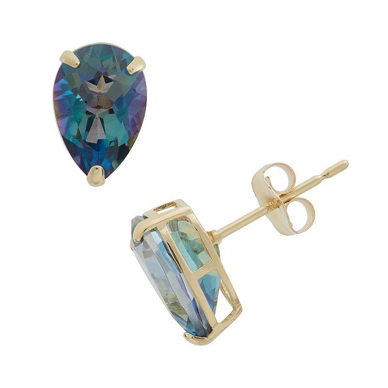 Mystic Topaz 10k Gold Teardrop Stud Earrings