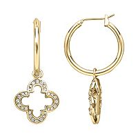 Marie Claire Jewelry Crystal Gold Tone Clover Hoop Drop Earrings