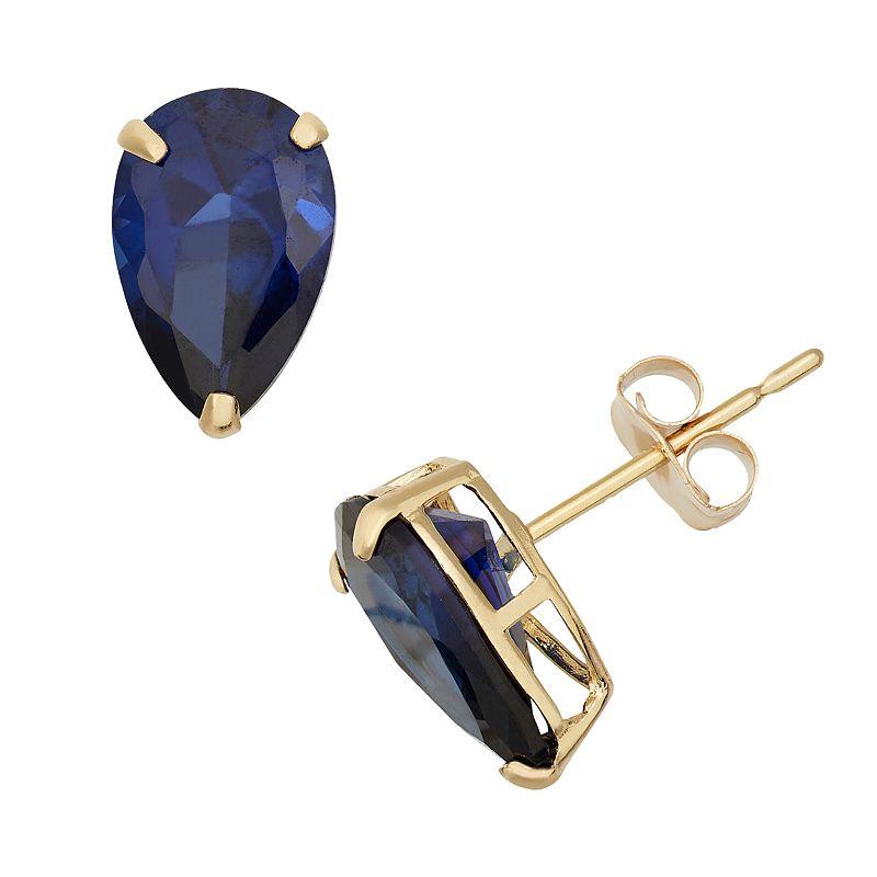 Lab-Created Sapphire 10k Gold Teardrop Stud Earrings
