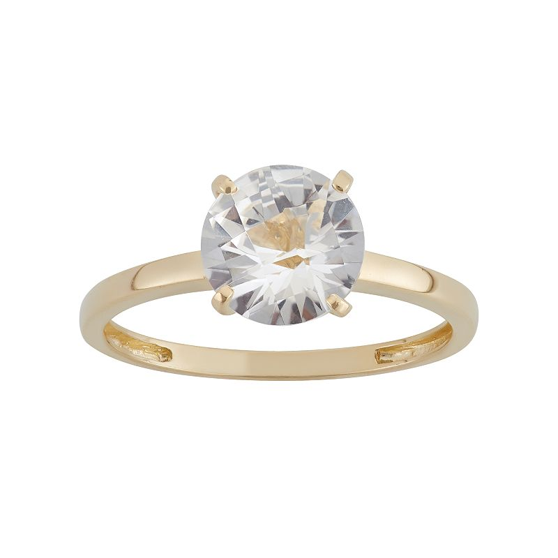 Lab-Created White Sapphire 10k Gold Ring