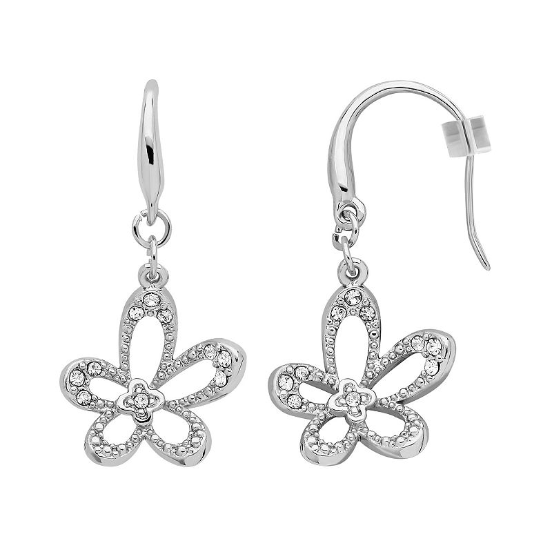 Marie Claire Jewelry Crystal Silver Tone Flower Drop Earrings