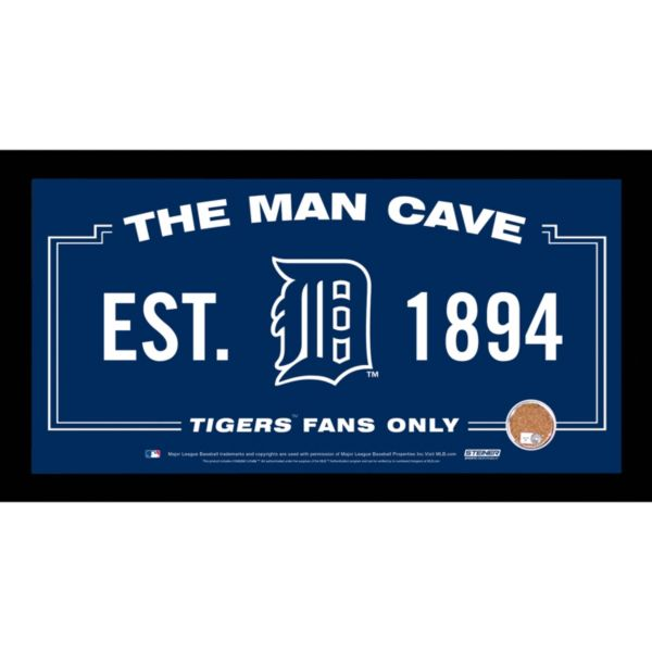 Steiner Sports Detroit Tigers Man Cave Sign with Authentic Field Dirt