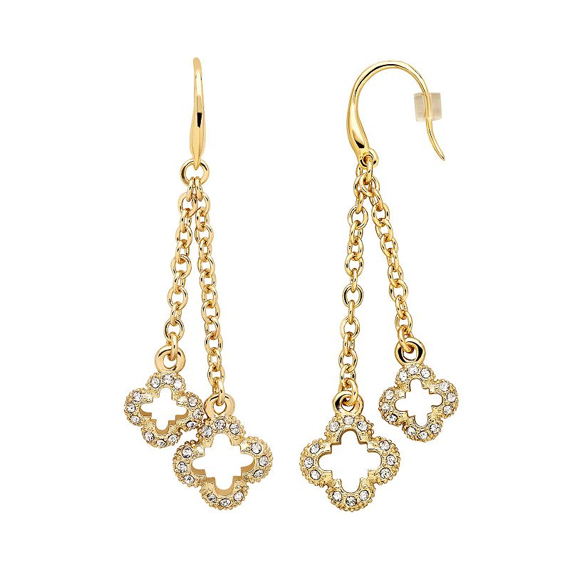 Marie Claire Jewelry Crystal Gold Tone Clover Linear Drop Earrings