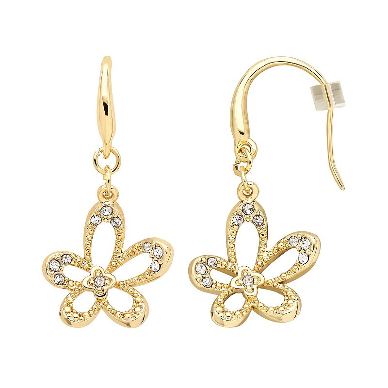 Marie Claire Jewelry Crystal Gold Tone Flower Drop Earrings