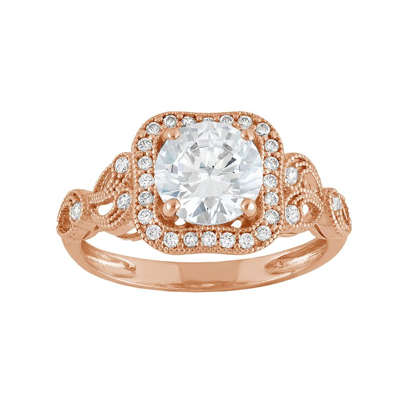Cubic Zirconia Square Halo Engagement Ring in 10k Rose Gold